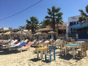 Sunlounges at Agia Anna Beach