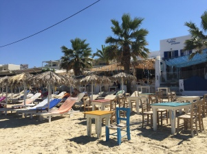 Sunlounges at Agia Anna Beach