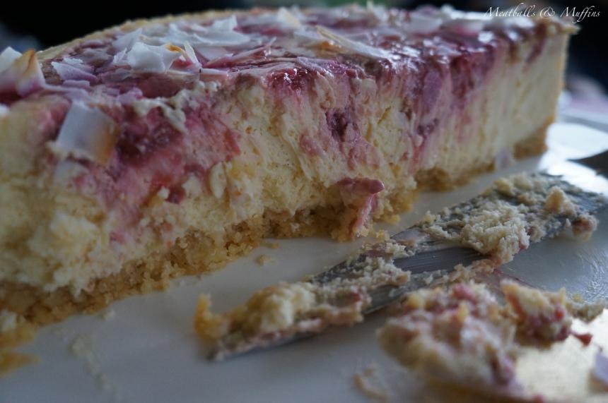Coconut & Raspberry Ripple Cheesecake piece