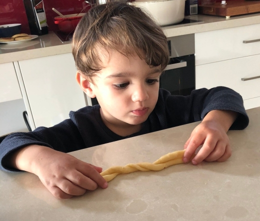 P baking Easter biscuits