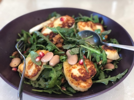 Rocket Bean & Pomegerate with Halloumi