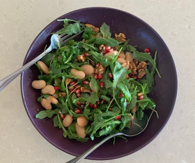 Rocket Bean Pomegranate and Walnuts