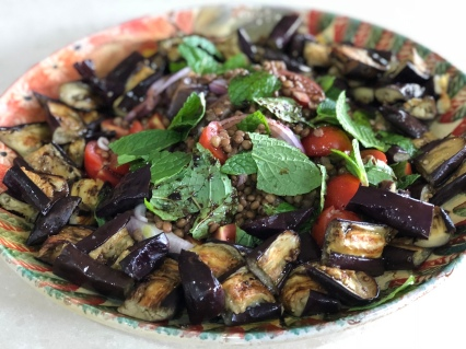 Lentil & Roasted Eggplant Salad - No cheese
